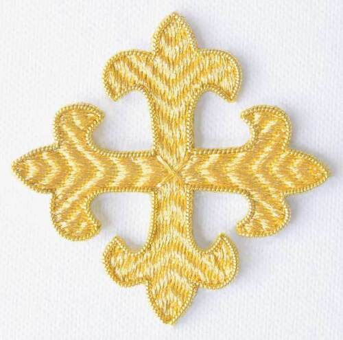 2 HandEmbroidered Appliques. Gold, Fleury Cross. 2""