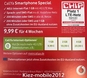 Vodafone Neue Sim Karte Kosten.Vodafone D2 Callya Smartphone Special Prepaid Sim Karte Lte