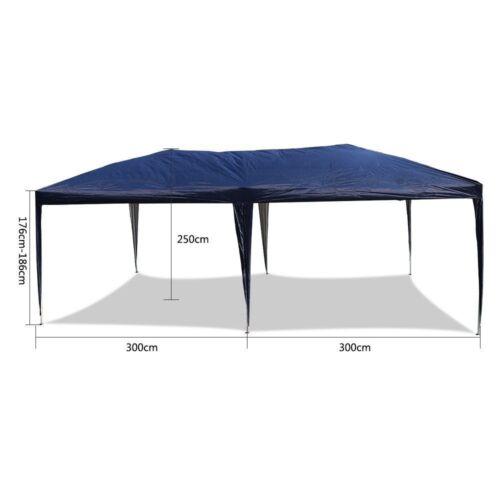 Gazebo New 3 x 6m Waterproof Outdoor PE Garden Gazebo Marquee Canopy Party Tent