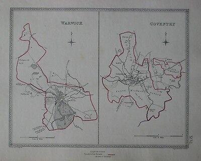 WARWICKSHIRE TOWNS Warwick Coventry borough plans CREIGHTON//WALKER 1835 map