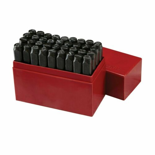 "36pc 3//8/"" STEEL METAL PUNCH LETTER /& NUMBER STAMP STAMPING KIT SET PLASTIC CASE"