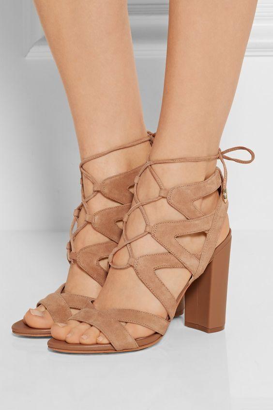 vendite calde SAM EDELMAN YARDLEY YARDLEY YARDLEY LACE UP HEELS 7.5 Suede oroen Caramel Heels Sandals scarpe  molte sorprese