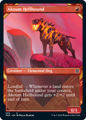 x4 Akoum Hellhound Showcase MTG Zendikar Rising C M//NM English