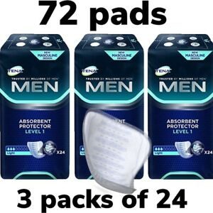 Tena-Men-Level-1-Absorbent-Protector-3-Packs-of-24-72-Guards-Incontinence-Pads