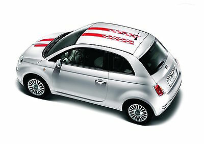 Fiat 500 And Abarth Dual Roof and Hood Checkered Racing Stripes Graphics Kit