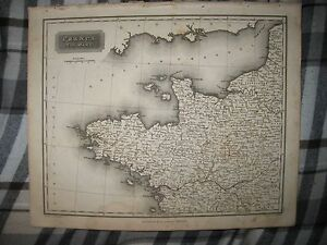 Map Of Northwest France.Superb Antique 1817 Northwest France Arrowsmith Dated Map Wine