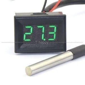 0-36-034-Digital-LED-Thermometer-55-125-12V-24V-Temperaturanzeige-DS18b20-Probe-G