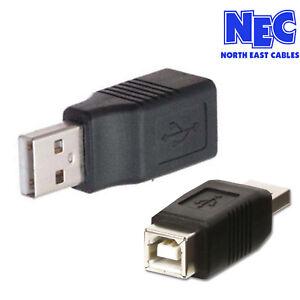 USB 2.0 Type A Male Plug to USB Type B Female Socket Adapter Converter Joiner UK