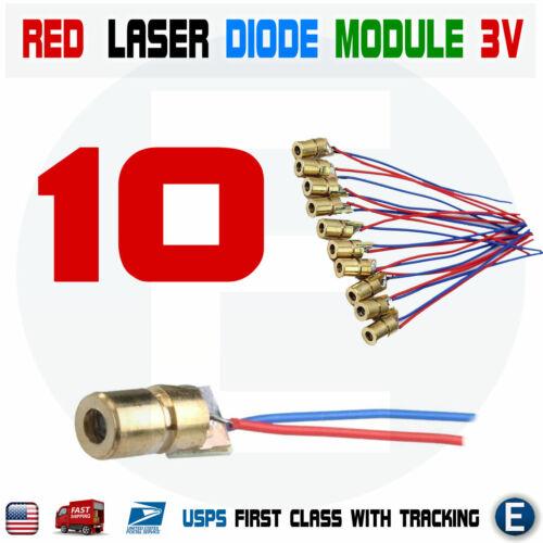 10pcs Red Dot Laser Diode Module 3V Volt 5mW 650nm Copper Head 150mW USA