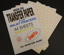 Inkjet Iron On T Shirt Transfer Paper A4 20 Sheets (For Light Fabrics)