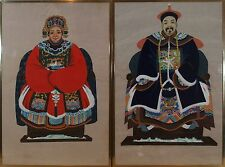 Pair Chinese Emperor and Empress Watercolor  Portraits Paintings