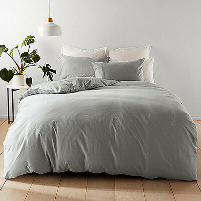 NEW Washed Cotton Quilt Cover Set � Grey Dimensions: