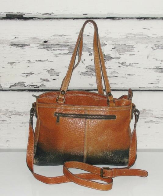 PATRICIA NASH~LARGE~VINTAGE DISTRESSED LEATHER~SATCHEL CARRY-ALL CROSS-BODY BAG