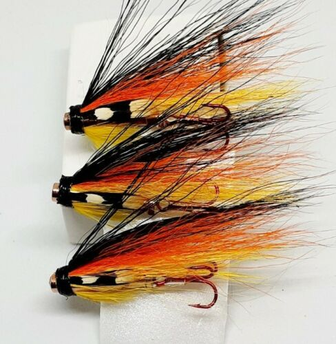 "Size 10 VMC Trebles 3 Salmon Brass Bottle Tube Flies-Summer Spey Dog 1/"" Tubes"