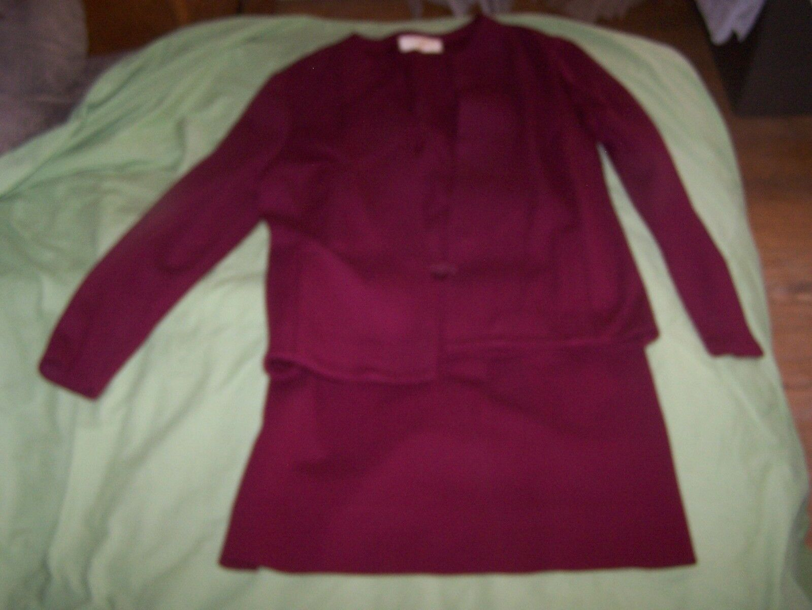Vintage 1950s 60s Maroon Catalina Blazer Skirt Suit Size 9 10