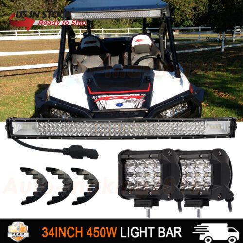 "Curved LED Light Bar 34/"" 450W For Polaris RZR XP900 800 RZR4 XP1000+4/"" Pods 32/"""
