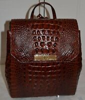 Brahmin Gloria Embossed Leather Backpack Pecan With Tag