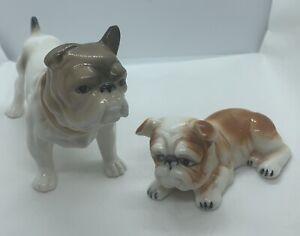 Pair-2-Vintage-Adorable-Bulldogs-Ceramic-Figurines-Lg-3-X-5-Sm-1-X-3