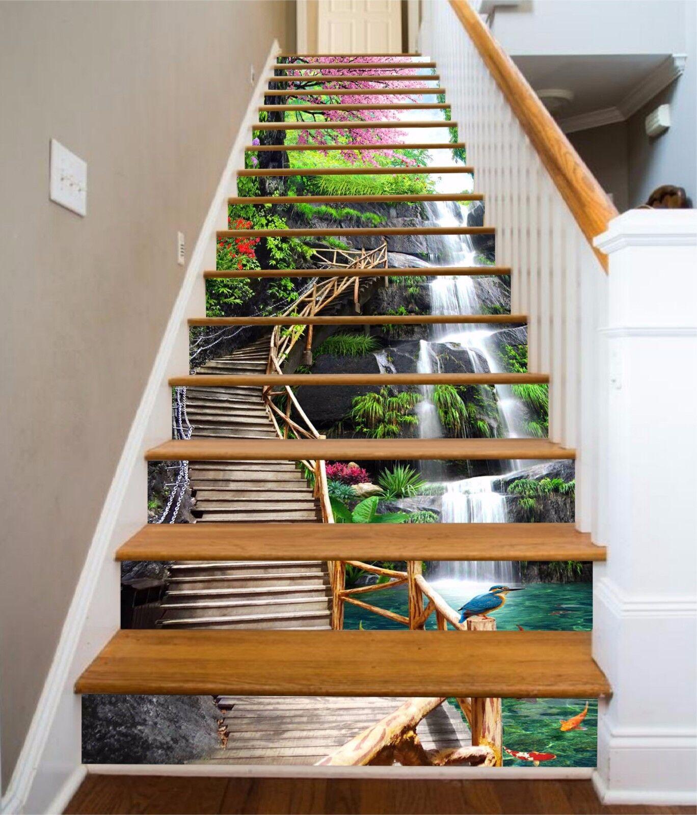 3D Wasserfall Bird 647 Risers Dekoration Foto Mural Vinyl Decal Wallpaper CA