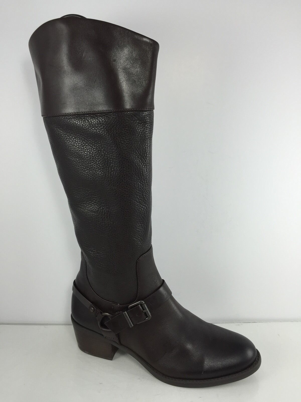 Vince Camuto Womens Dark Brown Leather Knee Boots 9 M