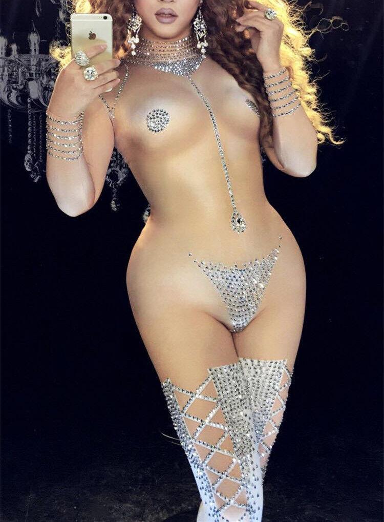 Sexy Striptease Dance Jumpsuit Sparkly Bodysuit Stage Wear Women's Celebrate
