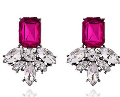 New Design Fashion Jewelery Geometry Crystal Leaf Flower Statement Stud Earring