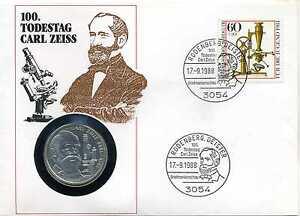 Numisbrief Deutschland 1988 100 Todestag Carl Zeiss Mit 10 Dm 1988