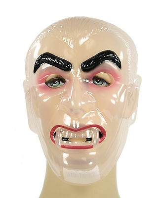 Transparent Clear CLASSIC MONSTER Vampire Dracula Plastic Costume Mask