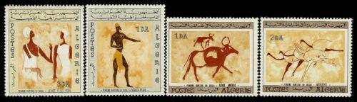ALGERIA. Wall Paintings from Tassili-N-Ajjer. 1966. Scott 344-347. MNH