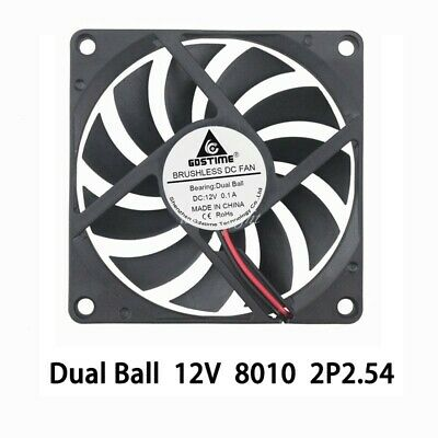 2pcs 80MM 80x80x10mm 12V Brushless PC Computer Cooling Case Fan 2pin 10mm 8010