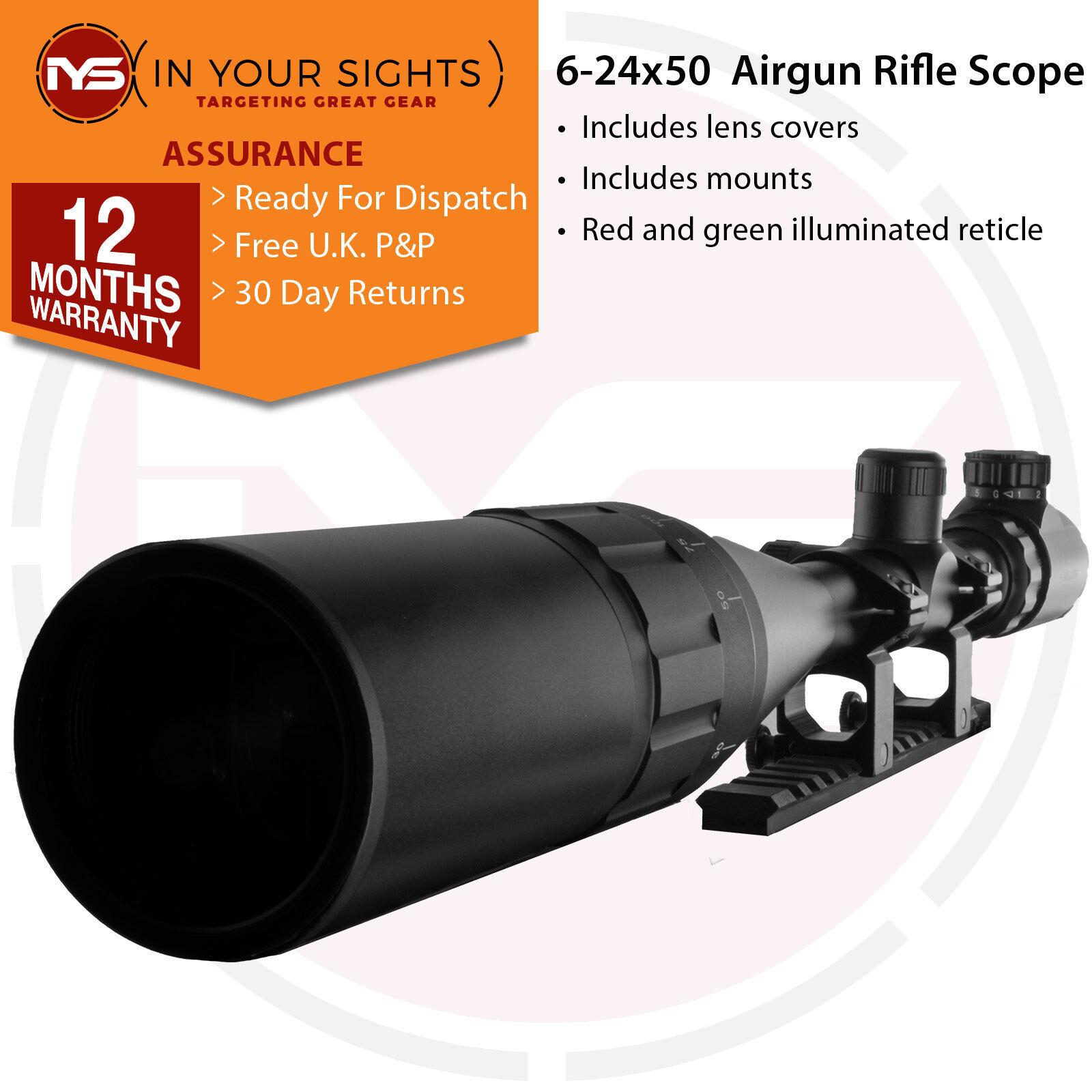 Mira Para Rifle 6-24x50 Aire retícula iluminada Rimfire alcance + montajes de cola de milano