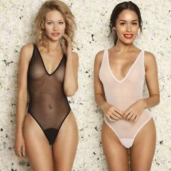 SEXY DAMEN BODY Transparent Spitzenbody Stringbody  Bodysuit Dessous Unterwäsche