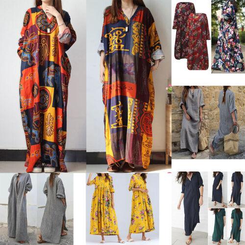 Women Boho Kaftan Long Maxi Dress Summer Hippie Long Sleeve Loose Beach