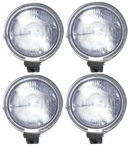 """12V 9/"""" ROUND CLEAR LENS HALOGEN LAMP SPOTLIGHT FOG LIGHTS HEAD LAMPS 4x4 81481c"""
