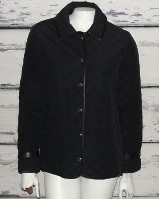 COACH~$395.00~BLACK *LEATHER TRIM ACCENTS* LIGHTWEIGHT~QUILTED COAT JACKET~S