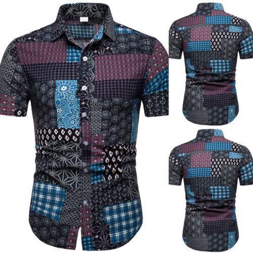 Men Retro Floral Geometric Patchwork Short Sleeve Tee Shirt Summer Beach T-Shirt
