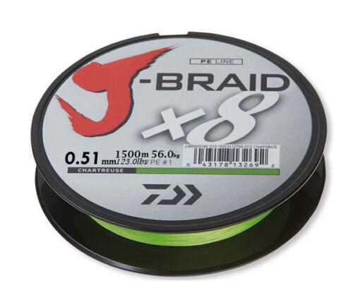 Geflochtene Schnur DAIWA J-BRAID X8 150m//300m//1500m 3 Farben Angelschnur Stark!