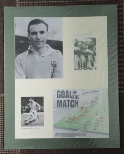 "1953 FA CUP FINAL. BLACKPOOL MONTAGE 20""x16"" WEMBLEY SIGNED MATTHEWS FARM PERRY"