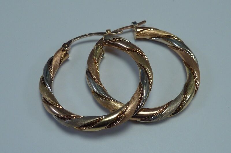 18K Yellow and pink gold Hoop Earrings 1