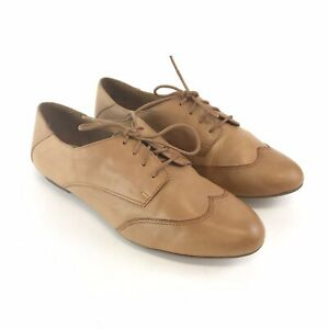 Clarks-Size-38-5-UK5-5-D-Ladies-Brown-Leather-Lace-Up-Flat-Heels-Shoes-Fast-Ship
