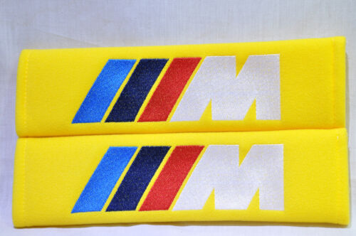 Embroidery Yellow Seat Belt Cover Shoulder Pads Pair BMW M M3 M5 Power Logo