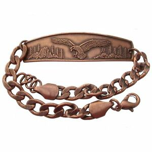 Solid-Copper-Bracelet-Eagle-Handmade-Jewelry-Chain-Link-Arthritis-Pain-Relief
