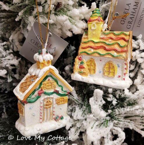 Gisela Graham GINGERBREAD Christmas Tree Decoration HOUSE CHURCH SUGARED Resin