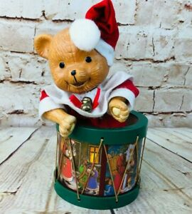 Vintage Musical Toy Bear Moves & Plays Jingle Bells Christmas Holiday Decoration