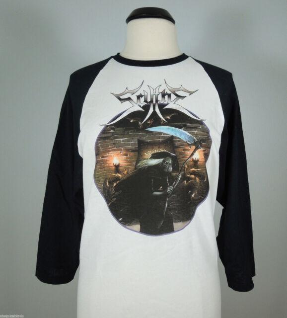 SCYTHE Beware The Scythe! Raglan Jersey White Shirt (R.I.P. Records) sz L (NEW)