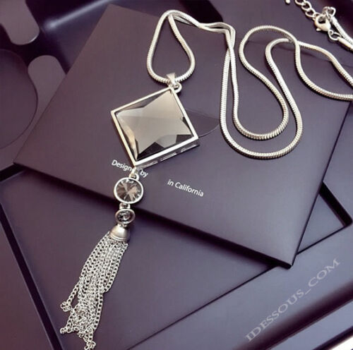 Damen Goldkette Mode Schmuck Collier mit Anhänger lang Pullover Kette 75cm Luxus