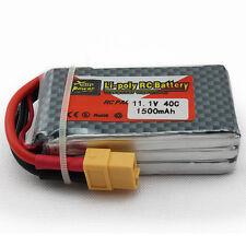 2Pcs 11.1V 1500mAh 40C 3S XT60 Plug Lipo batería para aviones de helicóptero
