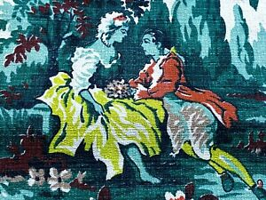 Sale! Gone With The Wind Barkcloth Vintage Fabric Drape Curtain 40's Romanticism