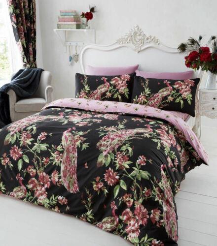 Plume Peacock Floral Style Black//Pink Duvet Cover Sets Reversible Bedding Sets