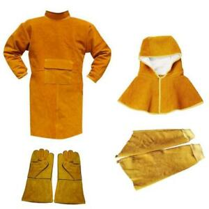 Cheap Fire Retardant Clothing >> Details About Protective Welding Coat Gloves Sleeves Safety Fire Resistant Clothing Kit